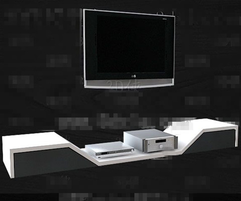 Silver and white unique TV cabinet