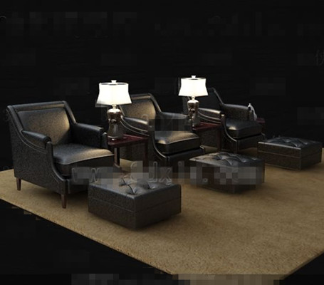 Black casual leather sofa combination