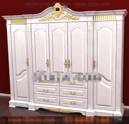 European style white four-door wardrobe