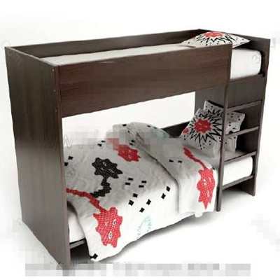 Dark brown children stacked bed