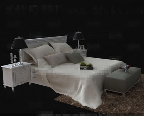 Wooden simple black and white double bed