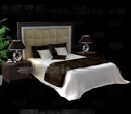 Modern brown wooden double bed