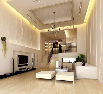 White duplex structure apartment living room