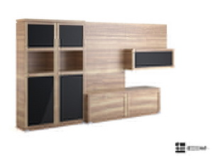 Multi-function wood color TV cabinet