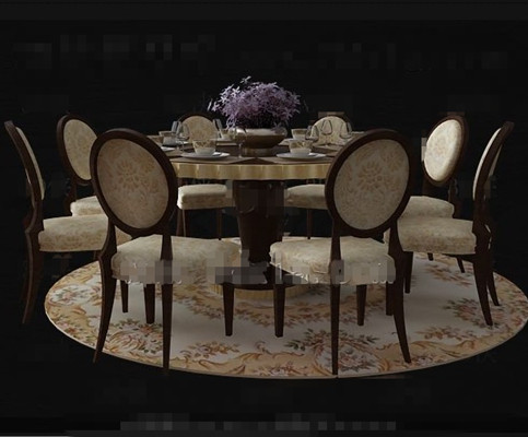 Luxury wooden dining table combination