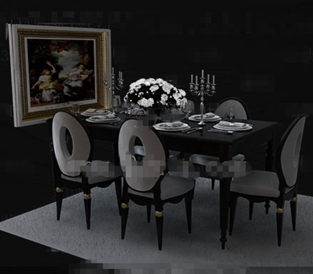 Modern minimalist gray dining table