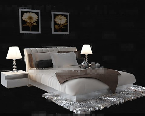 Link toSimple and comfortable white double bed