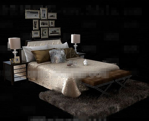 Link toGold luxury double bed 3d model