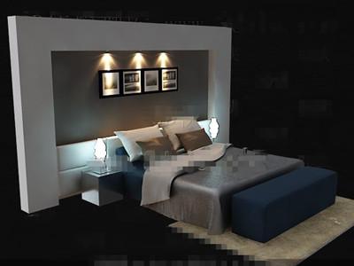 Elegant simple blue double bed