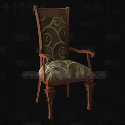 Brown fabric wood carved chair