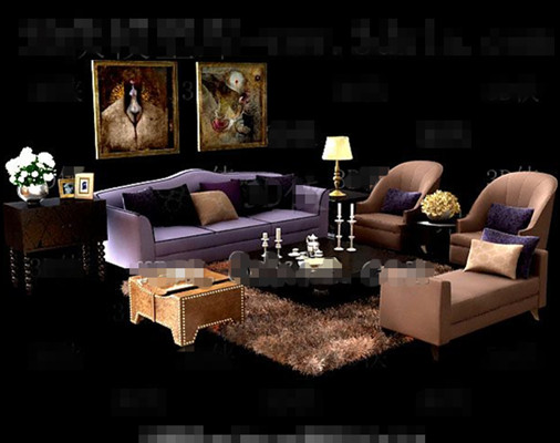 Gorgeous purple sofa combination