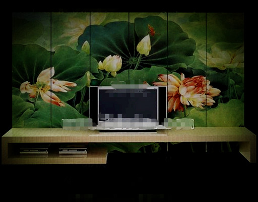 Chinese style lotus pond screen TV wall