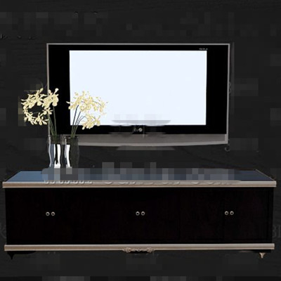 Stylish cool black wooden TV cabinet