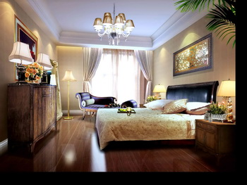 Dark solid wood retro bedroom