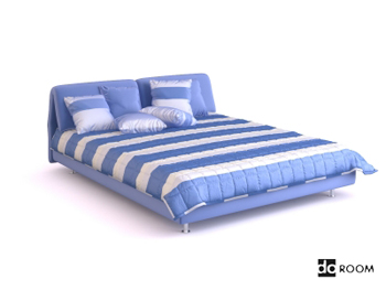 Blue and white striped double bed
