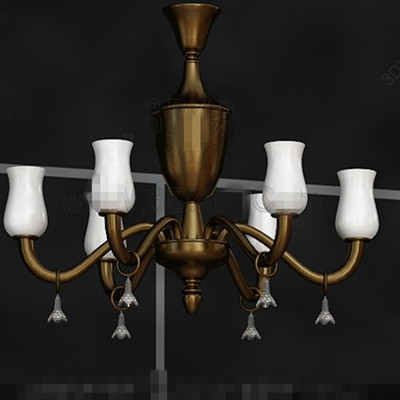 Beautiful golden scaffold white chandelier