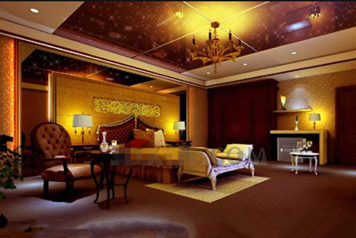 Golden luxury exquisite bedroom