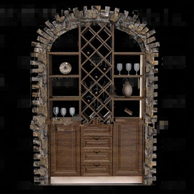 Wooden embedded display wine cabinet