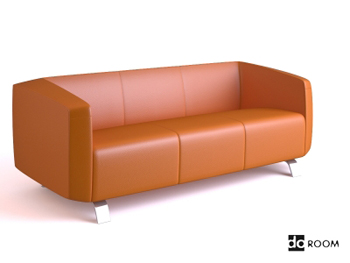 Pale orange comfortable three seats sofa