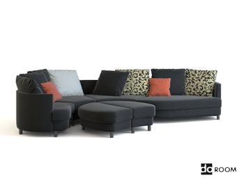 Gray and black fabric combination sofa