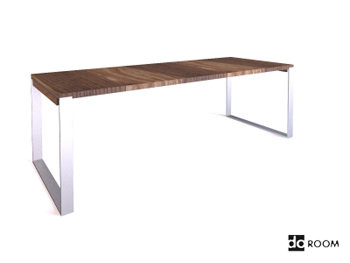 Solid wood desktop and metal stents table