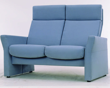 Modern dark gray double high back sofa