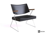 Black leather wooden armchair