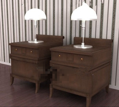 The dark wood pairs of bedside cabinets