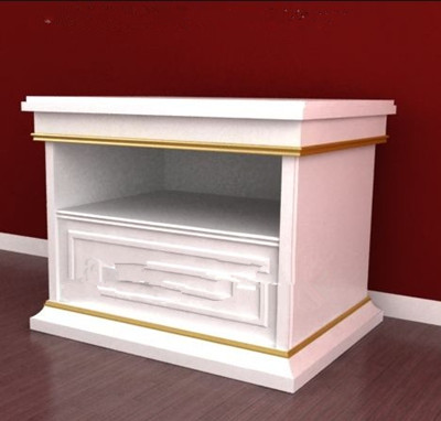 Double-layer white bedside cabinet