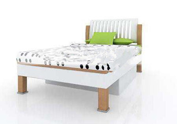 Fresh green and white children's bed