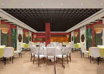 Chinese-style decoration spacious restaurant