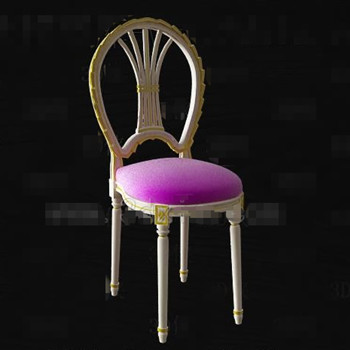 Purple seat white wooden chair