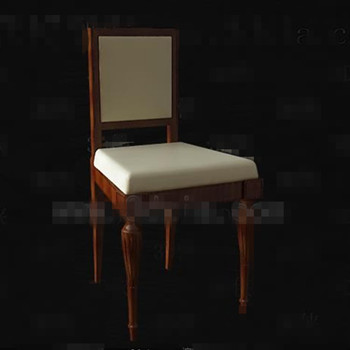 Retro beige seat brown wooden chair
