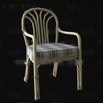 Gray and white checkered seat rattan chair