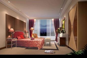 Warm dark spacious bedroom