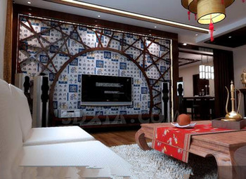 Link toChinese style retro wood structure living room