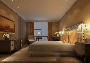 Beige main theme dark hotel bedroom