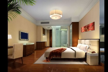 Modern hotel-style comfortable bedroom