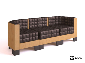 Wood sense Plaid three seats sofa