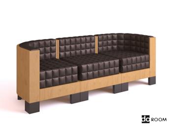 Wood sense Plaid three seats sofa