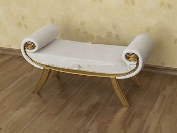 White gold-rimmed sofa bench