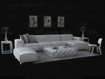 Fashion white leather sofa combination