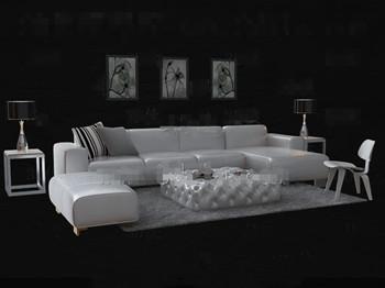 Link toFashion white leather sofa combination