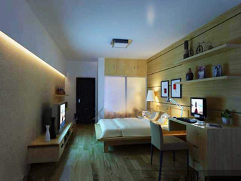 Simple wooden decoration small bedroom