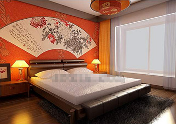 Chinese style orange simple bedroom