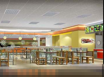 Spacious and comfortable fast-food restaurant