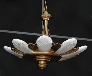 White and gold petals pendant lamp