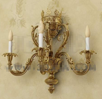 Gold metal candle holders wall lamp