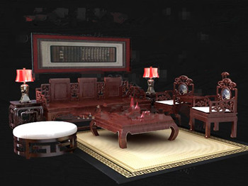 Link toChinese style red wooden tea table combination