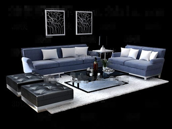 Fashion and simple gray sofa combination